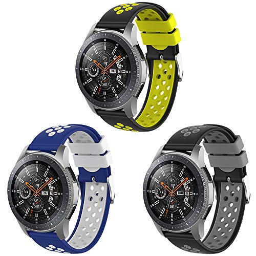 Songsier Compatible con Correa Gear S3 Frontier/Galaxy Watch 3 45mm/Galaxy Watch 46mm/Gear 2 /Huawei Watch GT2 46mm/Watch GT 46mm/Moto 360, Correa de Repuesto de Silicona de 22 mm