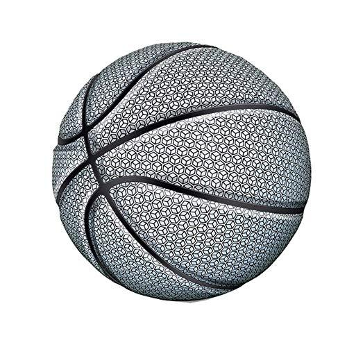 TOMMY LAMBERT Basketball, leuchtet Regenbogenfarben, leuchtendes PU-Leder, reflektierender Basketball mit Aufbewahrungstasche, Größe Nr. 7 Ball, weiß