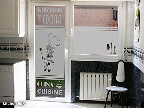Tokpersonal Vinilo Decorativo Para Cristal Modelo Cocinera Cocina 50x195cm