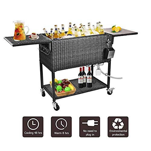 URRED Wicker Cooler Cart, 80 Quart Rattan Rolling Cooler Cart Wicker Ice Chest Cooler Trolley for Outdoor Patio Deck Party, Beverage Bar Backyard Stand Up Cooler with Wheels and Outer Cover (Black)