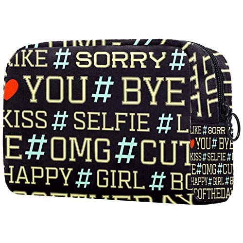 with Zipper for Women Toiletry Bags Makeup Bag Hashtag Letter Travel Cosmetic Organizer