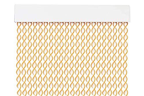 MERCURY TEXTIL Cortina para Puerta Tiras PVC 200x90cm,Cortina para Puerta Exterior,10 Color (Blanco+Filo Amarillo R4)
