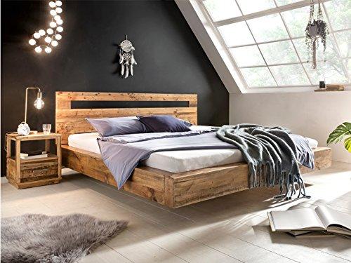 Woodkings® Holz Bett 180x200 Marton Doppelbett massiv Holz Schlafzimmer Möbel Doppelbett Schwebebett rustikale Naturmöbel Echtholzmöbel (Rec. Pinie)