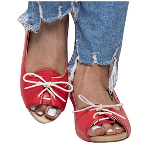 Übergroßer Sandalen für Damen/Dorical Frauen Sommer Retro-Peep-Toe-Sandalen mit seitlicher Abdeckung Damenschuhe Mode einfache PU-Leder Schuhe rutschfest 35-43 EU Ausverkauf (41 EU, Z06-Rot)