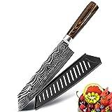 Mejores Cuchillo de cocina Herramienta Cleaver Santoku Carne de 8 pulgadas Chef japonés cuchillos de acero inoxidable Juego de Láser de Damasco máquina de cortar Dibujo inoxidable