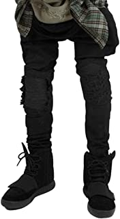ZiXing Mens Slim Fit Jeans Ripped Stretchable Tapered Leg Denim Trouser
