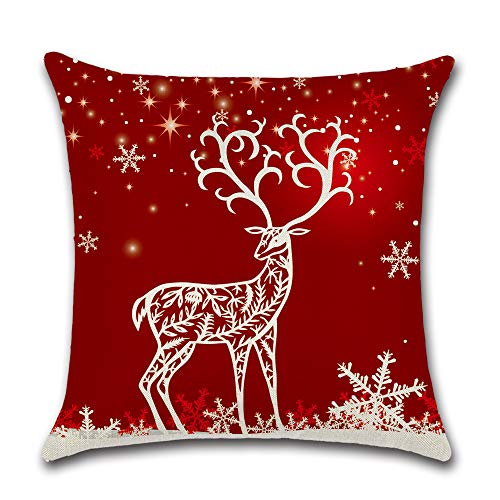 FGHSD Christmas Pillow Cover 18×18 Inch Cotton Linen Decoration Print Red Festive Christmas Deer, Christmas Tree, Bell, Sofa Cushion Cover Christmas Decoration Throw Pillow Cover