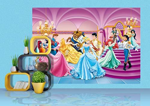 AG Design FTDs1928 Disney Princess Prinzessinen, Papier Fototapete Kinderzimmer - 255x180 cm - 2 teile, Papier, multicolor, 0,1 x 255 x 180 cm