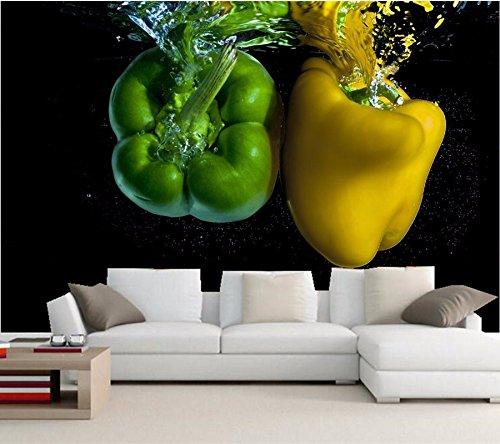 Yosot Custom 3D-behang, peper water twee groen geel eten achtergrond foto's, restaurant woonkamer TV sofa muur keuken 3D muurschildering 350 cm x 245 cm.