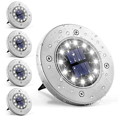 GIGALUMI Solar Bodenleuchte 12 LEDs 4 Stück Solarleuchten Weiß Gartenleuchten Edelstahl Wasserdicht für außen, Garten, Terrasse, Rasen, Hof, Gehweg