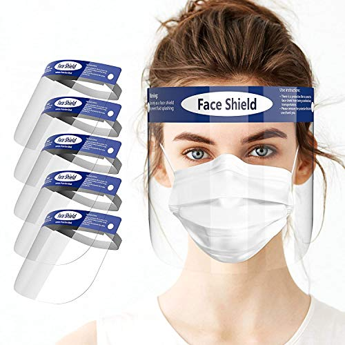 ICG Medical - Visiera Protettiva Antivirus 5 Pezzi Trasparente Occhiali - Professionale Traspirante Antiappannamento Sicurezza - Certificata CE – Riutilizzabile Lavabile - Fascia elastica imbottita