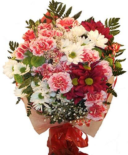 Ramo de flores naturales a domicilio de margaritas y claveles a domicilio con envio y nota dedicatoria inluidos en el precio