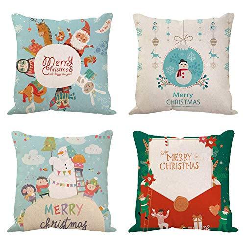 SLRMKK 4 Pcs Christmas Pillow Covers,Cotton Linen Pillow Decorative Pillowcases Christmas Sofa Cushion Cover Snowflake Snowman Reindeer Santa Claus for Home Decoration Xmas Gifts,18' x 18'