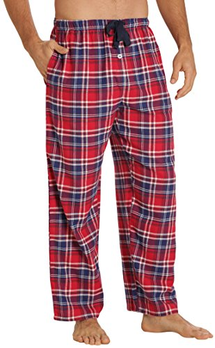 EVERDREAM Sleepwear Mens Flannel Pajama Pants, Long 100% Cotton Pj Bottoms,Size X-Large Red