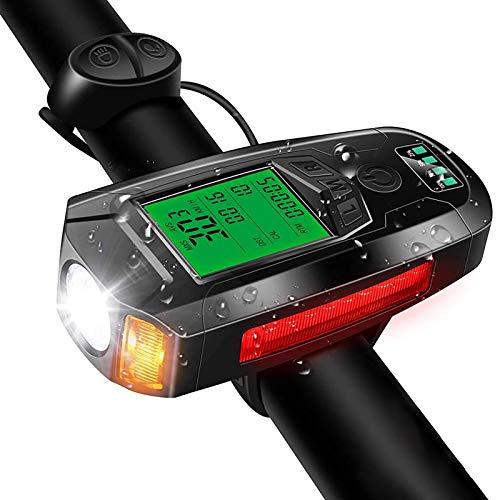 LIXUE-Shop Luces para Bicicleta Velocímetro USB Recargable Impermeable 5 Modos De Iluminación con Campana De Bicicleta Ruidosa para Todos Los Desplazamientos En Bicicleta Y Ciclismo De Carretera