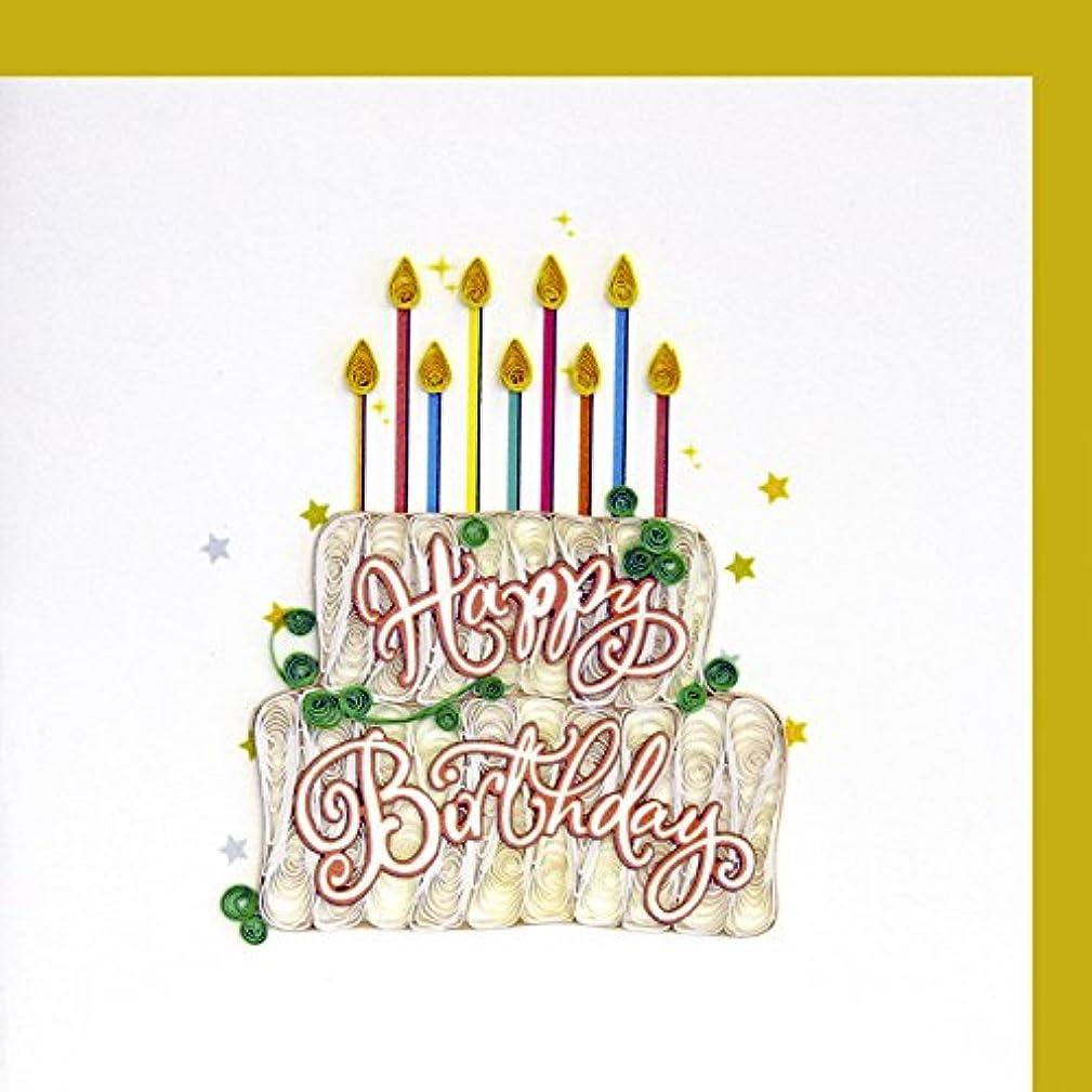 Origamo QU023?–?Greeting Card, Happy Birthday Cake, Filigree of Paper, Origami