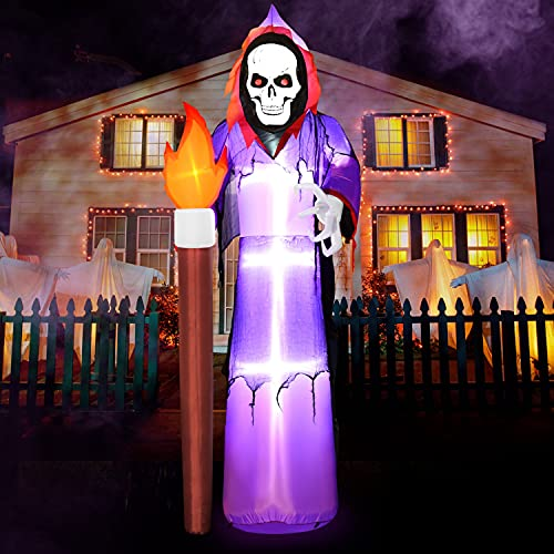 Rocinha Halloween Inflatables Grim Reaper 8 Ft Halloween Blow Up Decorations with Built-in LED Lights Halloween Lawn Decorations for Outdoor Party Yard Garden