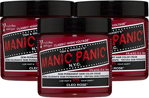 Manic Panic Cleo Rose Red Hair Dye - Classic High Voltage - (3PK) Semi-Permanent Hair Color - Bright Warm Magenta Pink Shade With Rosy Tones - Vegan, PPD & Ammonia-Free - For Coloring Hair