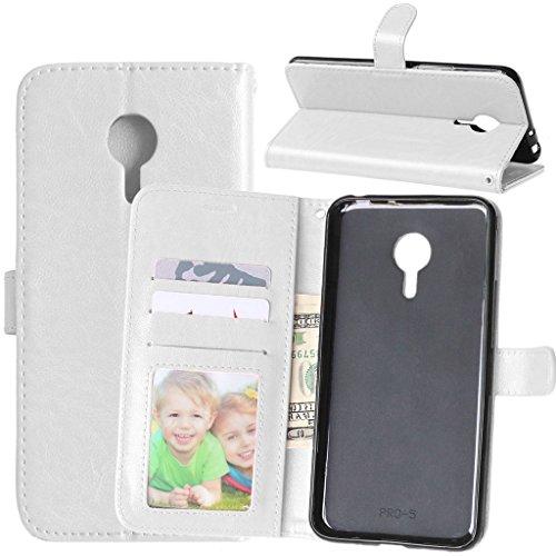 FUBAODA für Meizu Pro 5 Hülle, [Kostenlos Syncwire Ladekabel] Flip Leder Money Karte Slot Brieftasche, Klassiker, Tasche Hülle für Meizu Pro 5 (M578CE M576 M57) (Weiß)