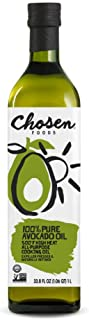Chosen Foods 100% Pure Avocado Oil 1 L, Non-GMO, for High-Heat Cooking, Frying, Baking, Homemade Sauces, Dressings and Mar...