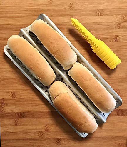 Bundle: Non-Stick Perforated Aluminum 2-Wave Bread Pan for French Baguette Bread, Italian Bread, Sub Rolls + The Hotdogger