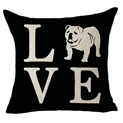 FELENIW Cute Animal Pet Dog English Bulldog Love People Friend Throw Pillow Cover Cushion Case Cotton Linen Material Decorative 18' Square (Bulldog)