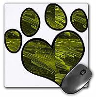 3drose LLC 8x 8x 0.25インチマウスパッド、Cute Paw Print inグリーンSwirl ( MP _ 122527_ 1)