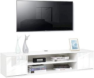 Meerviel - Meuble TV Suspendu - Meuble Télé avec 2 Etagères et 2 Portes Bois avec Rangement pour Salon Chambre, 140 x 32 x...