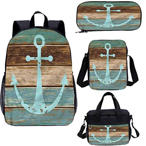 Lot de sacs décole pour enfants de 38,1 cm avec ancre sur planches de bois pour le travail, lécole, les voyages, le pique-nique