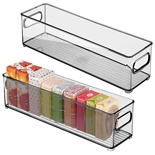 mDesign Set da 2 Contenitori per il bagno – Organizer in plastica per cosmetici, prodotti bagno e molto altro – Pratico cesto per il bagno con manici – grigio