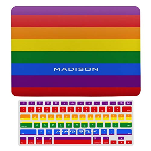 MacBook Air 13 Inch Case A1466, A1369, Plastic Hard Shell Case & Keyboard Cover Compatible with MacBook Air 13 Inch, Rainbow Flag Custom Name Laptop Protective Shell Set
