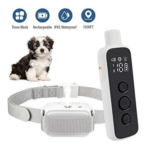 Citronella Bark Collar, Newest 2020 Dog Bark Spray Collar, Rechargeable, Waterproof, Adjustable, Anti-bark Training Collar for Small, Medium, and Large Pets (No Shock Safe & Humane) (White)