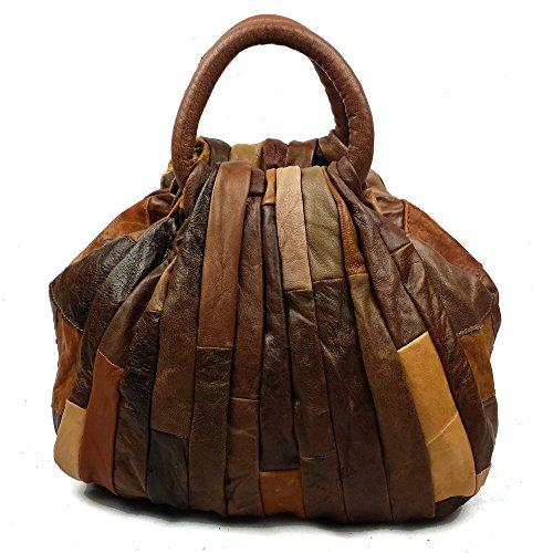 Patchwork von Luxe Naturleder Handtaschen Leder Damen Shopper Henkeltaschen Freizeittasche Schultertasche Leder Taschen Umhängetasche