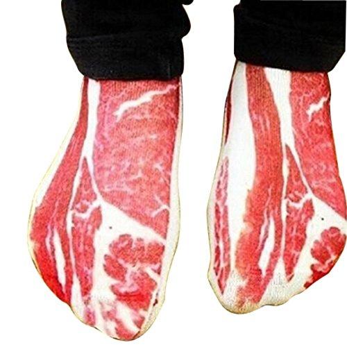 Monicanine 1 Pair Women Men Funny 3D Pork Meat Bacon Low Cut Sport Casual Ankle Socks