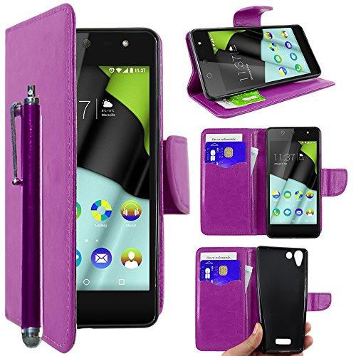 ebestStar - kompatibel mit Wiko Selfy 4G Hülle Kunstleder Wallet Case Handyhülle [PU Leder], Kartenfächern, Standfunktion + Stift, Lila [: 141 x 68.4 x 7.7mm, 4.8'']