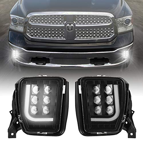 AlltoAuto 2pcs 60W LED Fog Lights Assembly Replacement for Dodge Ram 1500 Pickup 2013-2018 with Daytime Running Lights