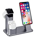 TOFURT 4 en 1 Apple Watch Stand support de Chargement écran iPhone station de recharge support Cradle pour iWatch Series 3/2/1/AirPods/iPhone X/8/8 Plus/7/7 Plus/6S/6S Plus/iPad - Gris