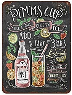 Wall Decoration Artwork,pimms Cup Juice tin Sign Metal Cafe Home Wall Art Decoration Poster Retro 8x12 inches