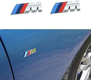 2 M Tri Color Fender Side Emblem Logo Decal Badge Sticker Compatible with BMW