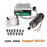CNC Spindle, MYSWEETY 500W Air Cooled 0.5kw Milling Motor and Spindle Speed Power Converter and 52mm Clamp and 13pcs ER11 Collet for DIY Engraving