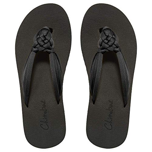 Chitobae Flip Flops for Women, Hand-Braided Slippers with Arch Support (US 6, Classic Black)