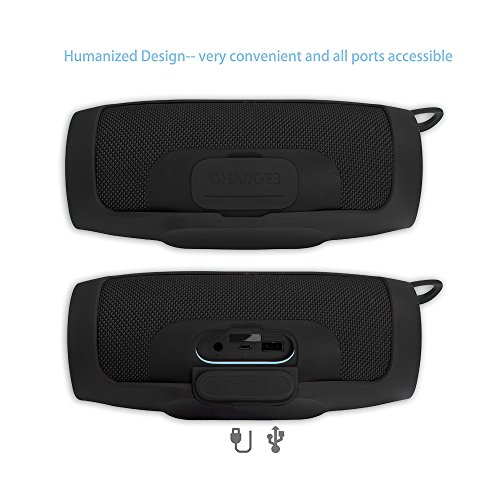 Pushingbest Carrying Case for JBL Charge 3 Speaker Durable Silicone Extra Carabiner Offered for Easy Carrying Black