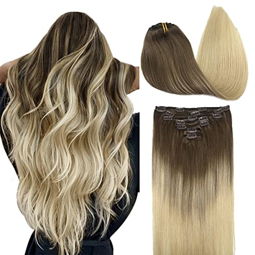 Clip in Hair Extensions Human Hair Extensions, DOORES Ombre Ash Brown to Platinum Blonde Straight 120g 7pcs 20 Inch Remy Hair Extensions Clip in Human Hair Real Natural Hair Extensions