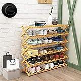 SHBV Zapatero de Madera Organizador de gabinete de Zapatos Ajustable de 5 Estrecho, 50 cm / 70 cm / 100 cm de Ancho Estante de Almacenamiento de Zapatos 25 Pares de Zapatos Montaj