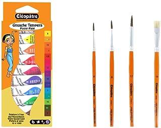 Cléopâtre - BL10-PINC - Lot 10 Tubes Peintures Gouache + Pinceaux