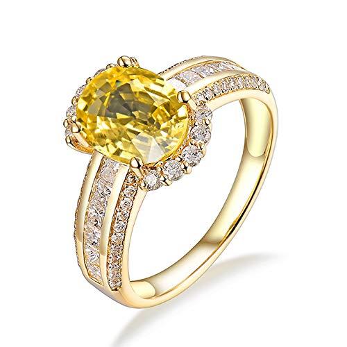 AnazoZ Anillo Mujer Zafiro,Anillo de Compromiso Oro Amarillo 18 Kilates Oro Oval Zafiro Amarillo 2.24ct Diamante 0.77ct Talla 21