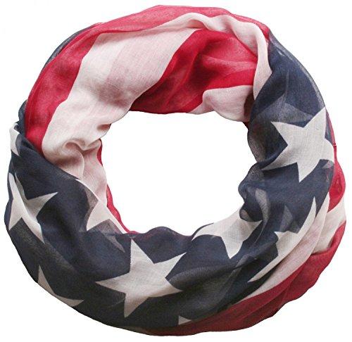 styleBREAKER Loop Schlauchschal im USA Flaggen Design, Sterne und Streifen, Stars and Stripes, Tuch, Unisex 01014034, Variante:Loop/Schlauchschal