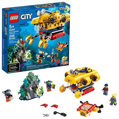 LEGO City Ocean Exploration Submarine 60264, with Toy Submarine, Coral Reef Setting, Underwater Drone, Glow in The Dark Anglerfish Figure and 4 Explorer Minifigures, New 2020 (286 Pieces)
