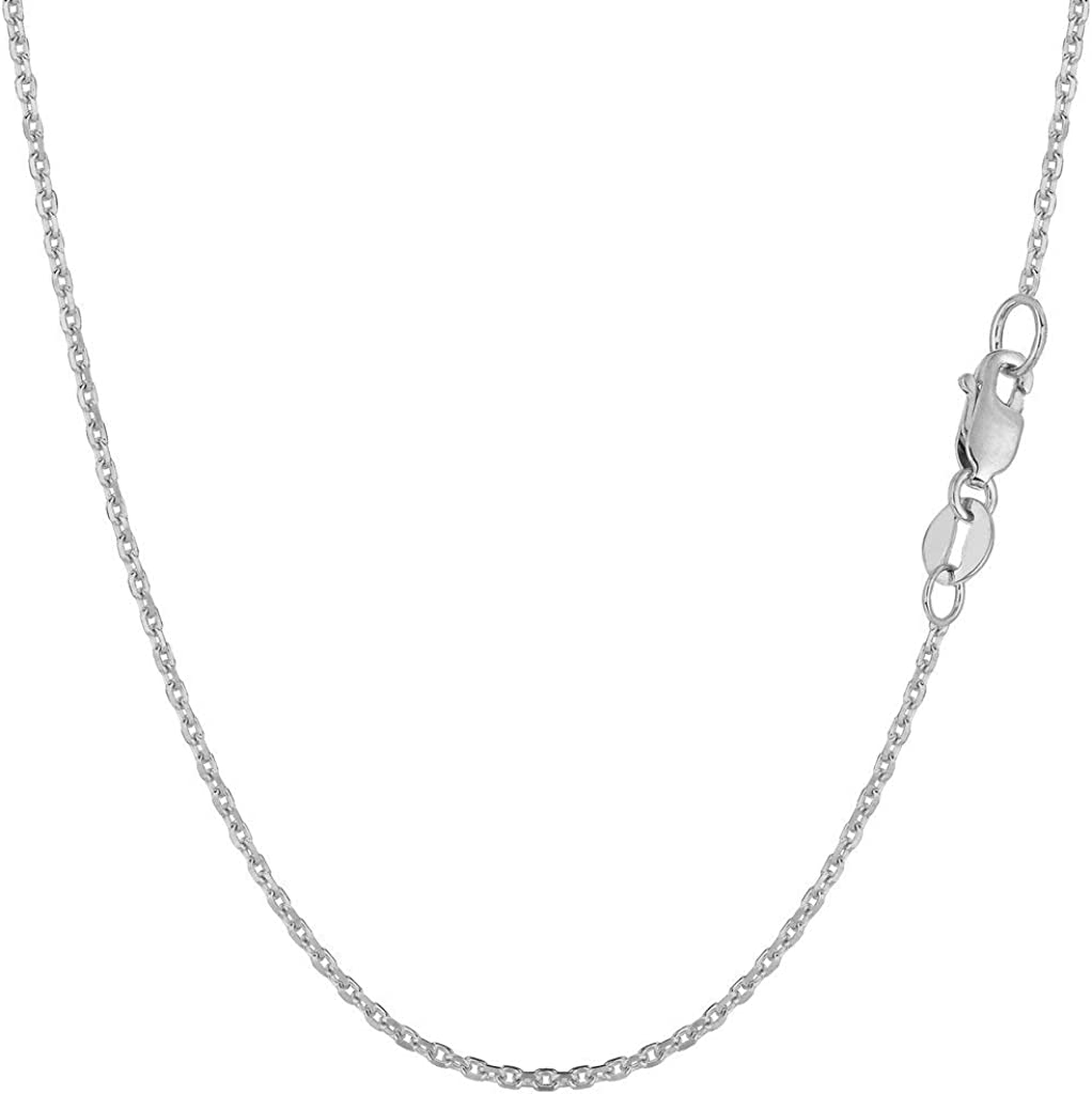 14k SOLID Yellow or White Gold 1.4mm Shiny Diamond Cut Cable Link Chain Necklace for Pendants and Charms with Lobster-Claw Clasp (16