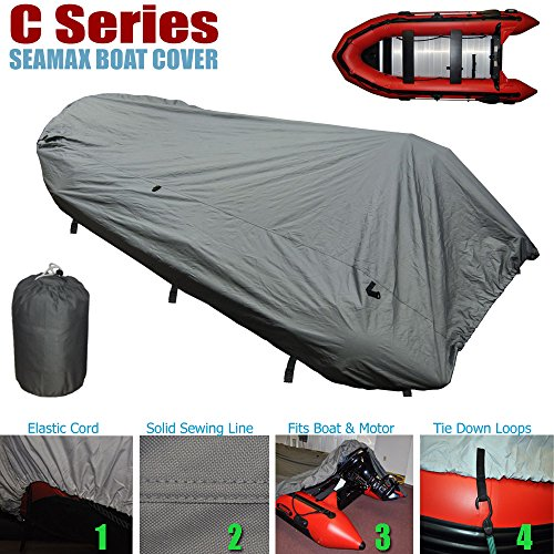 Best Review Of Seamax Inflatable Boat Cover, C Series for Beam Range 5.3' to 5.7' (FEET), 5 Sizes fi...